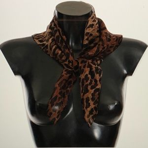 Dolce and Gabbana Brown Leopard Print Silk Scarf